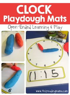 Telling Time - Clock Playdough Mats - learn to tell the time activity. This activity incorporates a little play with learning which keeps the children engaged. Hands on and interactive. Telling Time Games, Telling Time Activities, Teaching Time, Teaching Math, Learning Activities, Kids Learning, Telling The Time, Learning Time Clock, Numeracy Activities