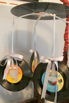Homemade baby mobile out of records for Vintage Country Music Nursery