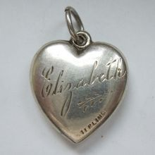 'Elizabeth' Sterling Silver Puffy Heart Charm - Repousse Floral