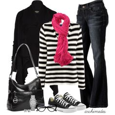 Switch the flared jeans for slim-fit ones, change the scarf to a different color, like eggplant, teal, or kelly green. Leave the cat's eye glasses out. Warm Outfits, Casual Outfits, Cute Outfits, Look Fashion, Fashion Outfits, Womens Fashion, Fashion Trends, Tomboyish Outfits, Estilo Converse
