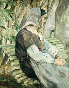 Titre de l'image : Henri de Toulouse-Lautrec - Old Woman Seated on a Bench in Celeyran