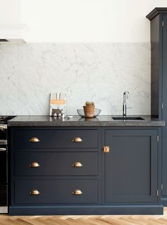 dark kitchen units - 12 Farrow and Ball Kitchen Cabinet Colors For The Perfect English Kitchen Home Decor Kitchen, Devol Kitchens, Kitchen Cabinets, Kitchen Colors, Modern Kitchen, Dark Kitchen, Kitchen Cabinet Colors, Farrow And Ball Kitchen, Kitchen Design