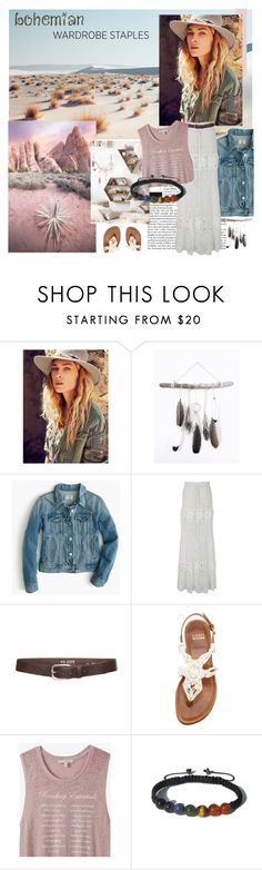 """""""Bohemian Chic"""" by zenstore ❤ liked on Polyvore featuring Free People, J.Crew, Chicwish, s.pa accessoires, Stuart Weitzman, Express, Shamballa Jewels, denimjackets and WardrobeStaples"""