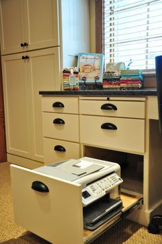 Built in desk idea for kitchen...genius! Printer in a drawer.