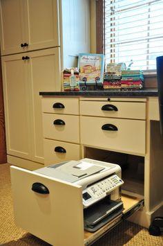 Built in desk idea for kitchen...genius! Printer in a drawer.