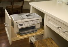 Handy printer drawer for desk in kitchen.