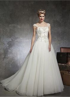 ELEGANT ORGANZA TULLE SATIN SWEETHEART NECKLINE BALL GOWN WEDDING DRESS WITH LACE APPLIQUES BEADS