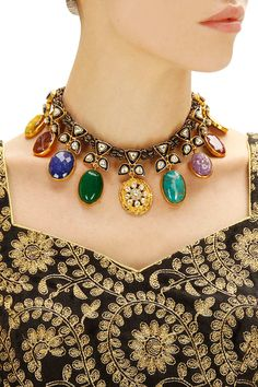 Gold finish 'Navratan' necklace available only at Pernia's Pop-Up Shop.