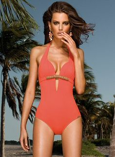 I love one-piece swimsuits. This one is so classy, and I love how the coral and gold would look really great on tanned skin.