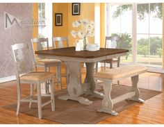 Napa Casual Rustic Wood Dining Set, Table+4 Counter Chairs+BenchDining room sets