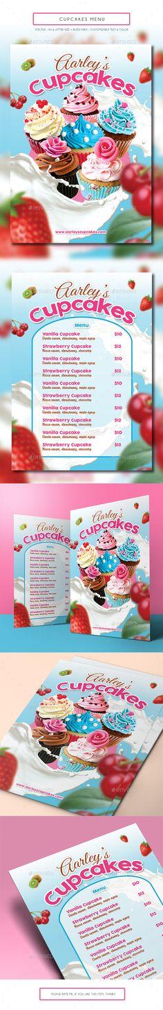 Cupcakes Menu — Photoshop PSD #pastry #cupcakes menu • Available here → https://graphicriver.net/item/cupcakes-menu/14676569?ref=pxcr