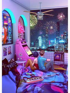 Cyberpunk Aesthetic, Cyberpunk City, Arte Cyberpunk, Neon Aesthetic, Cyberpunk Games, Retro Room, Retro Art, New Retro Wave, Vaporwave Art
