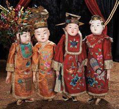 Quartet of Early Chinese Paper Mache Dolls in Superb Silk Costumes and Rare Larger Size Chinese, late Value Points: rare large size, each wearing elaborate embroidered costume and hat, with glued on embroidered slippers, original patterned cotton pants. Chinese Opera, Chinese Art, Paper Mache Head, Oriental, Dolly Mixture, Chinese Dolls, Asian Doll, Ichimatsu, China