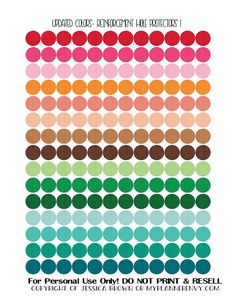 Free Printable Circle Reinforcement Hole Protectors in Updated Colors page 1 of 2 from myplannerenvy.com