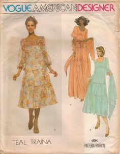 1970s Vogue American Designer Pattern 1894 Teal by CloeCessna, $20.00