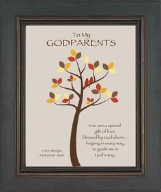 GODPARENTS custom gift - Print - Personalized gift for Godmother and Godfather - Gift from Godchild - Can be made in other colors Godparents Day, Godchild Gift, Godparent Gifts, Baptism Gifts, Godparent Ideas, Baptism Ideas, Godfather Gifts, Personalized Ribbon, Keychain Design
