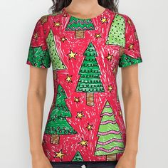 Cute drawing Red and Green Christmas Tree pattern - Christmas 04 unisex All Over Print Shirt apparel by Aloke Design | Society6 #style #fashion @society6