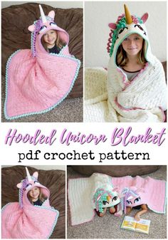 Love this fun pattern! Great handmade gift idea from grandma to a unicorn-loving little one! Crochet Unicorn Blanket, Crochet Blanket Patterns, Knitting Patterns, Crochet For Kids, Free Crochet, Knit Crochet, Crochet Hats, Crochet Classes, Crochet Projects