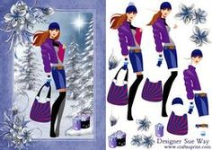 Fashionista! Goes Christmas Shopping Card Front Decoupage