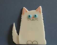 Cute White Fused Glass Kitten for Your Garden or a Shelf by Greta Schneider