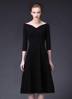 Viscose Solid 1017604/1017604 Sleeves Mid-Calf Elegant Dresses (1017604)…