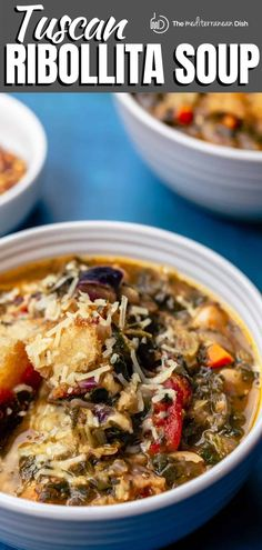 This recipe is all you need to make the BEST Tusca Ribollita soup on the stovetop or in your slow-cooker! Super hearty and loaded with beans, vegetables and beautifully toasted bread. And you'll love the rich Italian flavors, thanks to a couple of herbs and a little Parmesan cheese magic! #italianrecipes #italianfood #whitebeansoup #ribollita Bean Recipes, Side Dish Recipes, Veggie Recipes, Fall Recipes, Vegetarian Recipes Easy, Healthy Recipes, Healthy Soups, Vegan Soups, Veggie Meals
