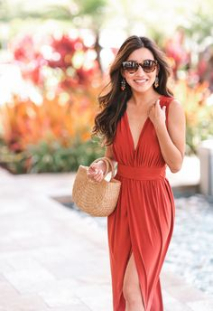 Draped wrap maxi dress under $50 // vacation resort boho style outfit