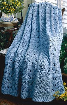 Fan Knit Afghan - Free Knitted Pattern - (craftdrawer)