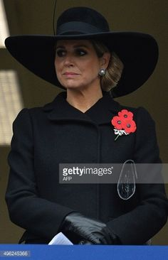 Queen Maxima of the Netherlands attends the Remembrance Sunday ceremony at the Cenotaph on Whitehall, London, on November 8, 2015. Services are held annually across Commonwealth countries during Remembrance Day to commemorate servicemen and women who have fallen in the line of duty since World War I. KIRK