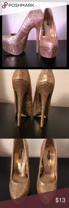 "🤩🤩🤩GOLD SPARKLY HEELS🤩🤩🤩 🔥🔥🔥WORN ONCE INSIDE SHORLTY AT A PARTY. SIZE 7 TTS BEAUTIFUL SPARKLY HEELS COMFORTABLE 5"" HEEL TO MAKE LEGS SLIM🔥🔥🔥 Charlotte Russe Shoes Heels"