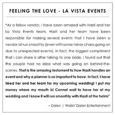 great vancouver wedding Yay! Loving this #testimonial from DJ Dalen - I am sooo flattered that he chose to hire @lavistaevents for his wedding! Why you ask?? Well....  Dalen's team did around 90 weddings in 2015 and out of all the planners he's worked with he has chosen my team to support him & his fiancé on their special day. #LaVistaLOVE #LaVistaEvents by @lavistaevents  #vancouverwedding #vancouverweddingDJ #vancouverwedding