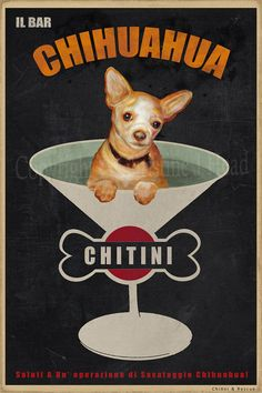 Chihuahua Vintage style Martini Dog Rescue Art by Pupsketches, $65.00