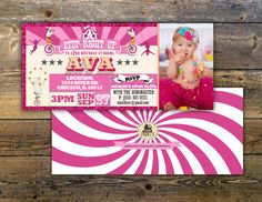 Birthday circus ticket-carnival ticket invitation by LyonsPrints