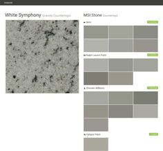 White Symphony. Granite Countertops. Countertops. MSI Stone. Behr. Ralph Lauren Paint. Sherwin Williams. Valspar Paint.  Click the gray Visit button to see the matching paint names.
