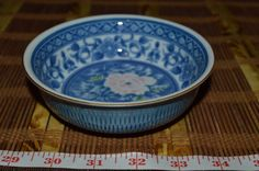 "Asian Porcelain Blue and White w/ Pink Floral Bowl Marked 5 1/8""x1 5/8"" #Unknown"