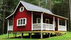 Red and porches on both sides! Love the window sill box too!