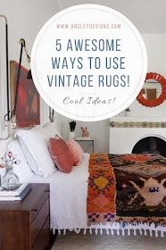Ansley Designs: 5 Awesome Ways to Use Vintage Rugs! Vintage Persian Rug, Vintage Rugs, Refinishing Furniture, Affordable Home Decor, Rugs, Rooms Reveal, Vintage Furniture, Vintage, Affordable Rugs