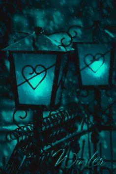 Snow falling on blue lanterns, gif Shades Of Turquoise, Shades Of Blue, Turquoise Color, Gif Animé, Animated Gif, Animated Heart, Luz Artificial, Aqua, I Love Heart
