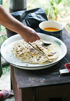 Buttering the Filled Flatbreads