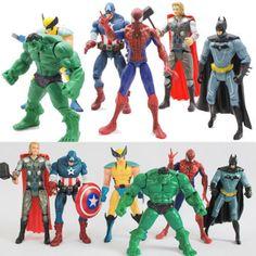 6X The Avengers Hulk Captain Wolverine Batman Spiderman Figure Collection Toys