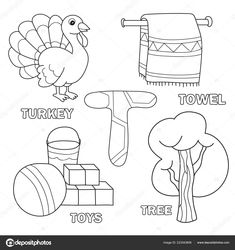 Kids Alphabet Coloring Book Page With Outlined Clip Arts Letter T Toys Tree Towel Turkey In 2020 Coloring Book Pages Coloring Pages Alphabet Coloring Pages