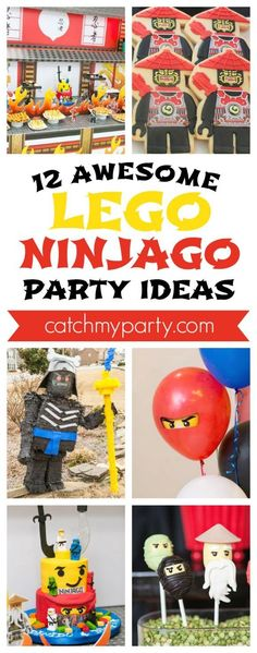 12 Awesome Lego Ninjago Birthday Party Ideas - ideas for dessert tables, party favors, decorations, cakes, party favors, and more! #legoninjagoparty #ninjagoparty #legoparty #I CatchMyParty.com