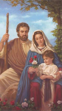 Behold the love and care of Mary and Joseph for the child Jesus in this beautiful canvas image. Jesus And Mary Pictures, Pictures Of Christ, Images Of Mary, Catholic Prayers, Catholic Art, Religious Art, Christian Artwork, Christian Images, Virgin Mary Art