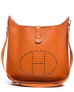 Evelyne III Hermes shoulder bag in fire orange taurillon clemence ...