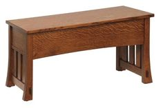 Amish Medesto Hall Bench - Choose Sizes and Woods Just the right bench for entryway, the Medesto is custom made in just the right size. Solid wood bench opens to store items away. #woodbench #customfurniture