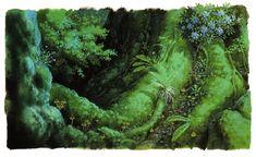 "the-sensation-called-animation: "" Ghibli Scenery Appreciation Princess Mononoke (½) How'ls Moving Castle (¾) Porco Rosso Kiki's Delivery Service Spirited Away The Secret World of. Hayao Miyazaki, Vegetal Concept, Mononoke Forest, Animation Background, Visual Development, Realistic Drawings, Environment Design, Environmental Art, Fantasy Landscape"