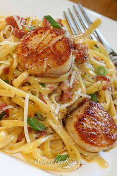 Carbonara with Pan Seared #Scallops Recipe {#bacon, green onions, Parmigiano Reggiano}