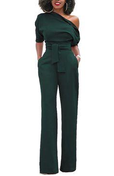 Women's Sexy One Shoulder Solid Jumpsuits Wide Leg Long Romper Pants With Belt - Black - Clothing, Jumpsuits, Rompers & Overalls Long Romper, Romper Pants, Rompers Women, Jumpsuits For Women, Women's Rompers, Pantalon Long, One Shoulder Jumpsuit, Wide Leg Pants, Long Pants