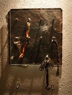 Schlüsselboard Upcycled Crafts, Wood Steel, Home Decor Accessories, Sculptures, Stones