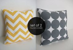 Yellow Chevron 16x16 Gray Dot Pillow Set; Etsy, Skoope $20....for my future Black, Gray and yellow bedroom. Perfect!!!. One day when I have $$
